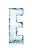 Letter E frozen ice block alphabet