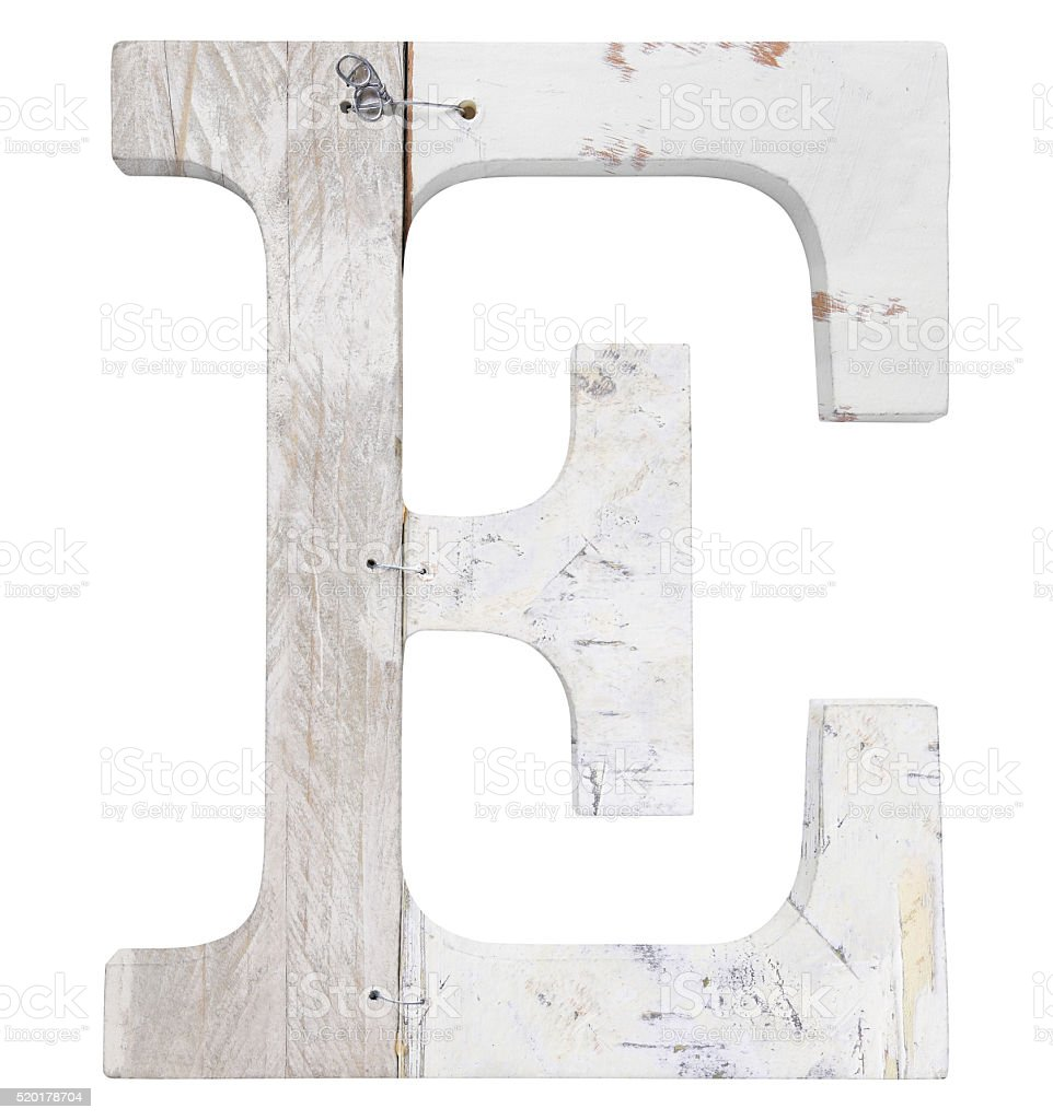letter e isolated on white background stock photo