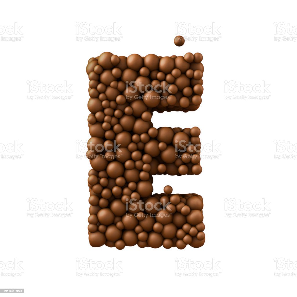 Letter E made of chocolate bubbles, milk chocolate concept, 3d render stock photo