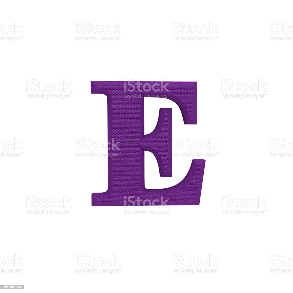Letter E made of cloth, tissue texture, 3d illustration stock photo