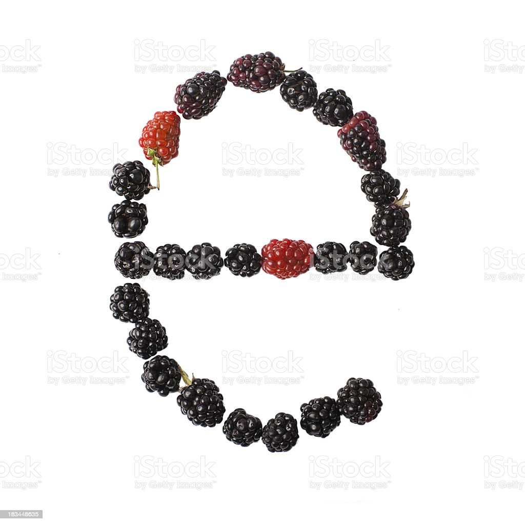 Letter E made up of blackberries royalty-free stock photo