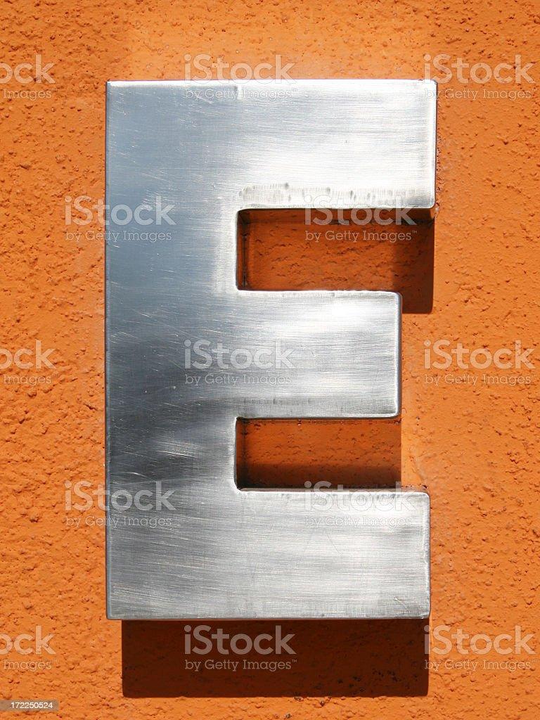 Letter E stock photo