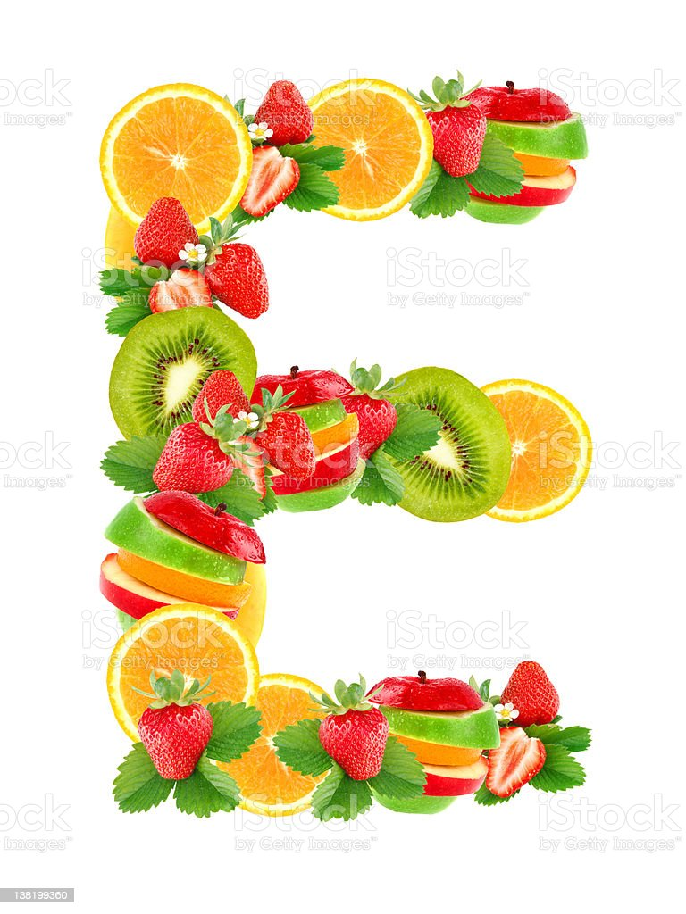 Letter E with fruit stock photo