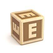 Letter E wooden alphabet blocks font rotated. 3D