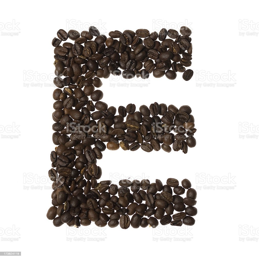 Letter E written with coffee royalty-free stock photo