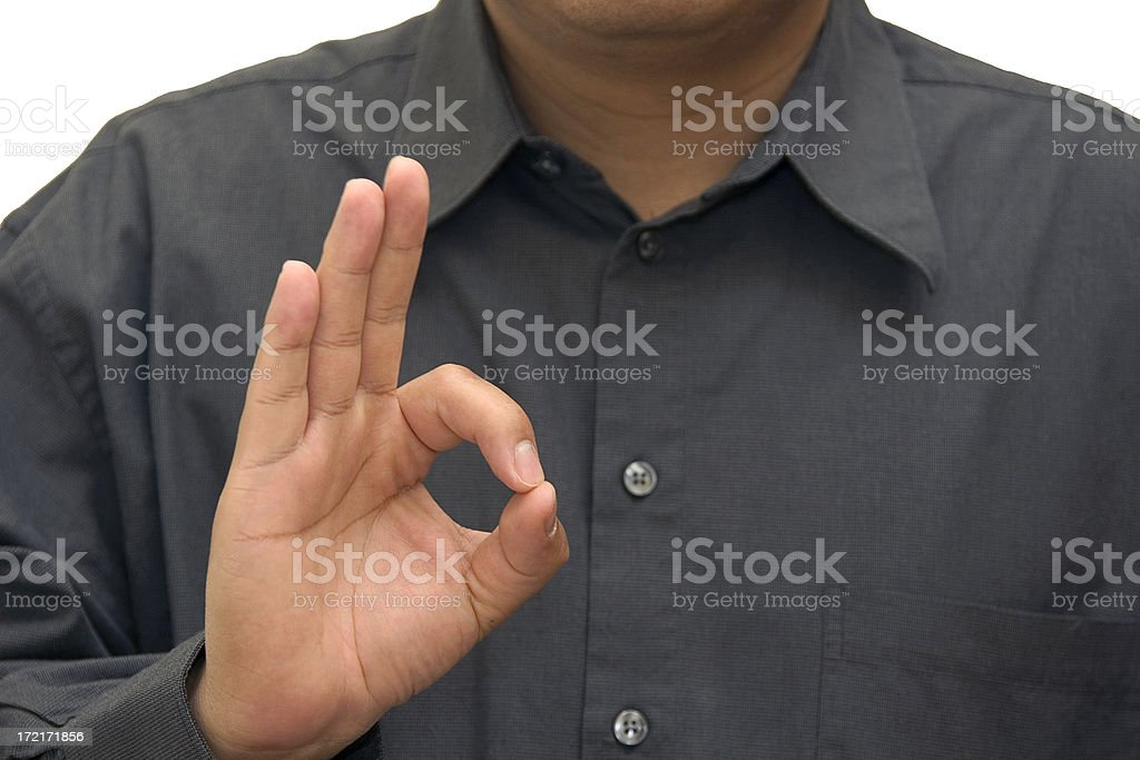 letter f american sign language royalty-free stock photo