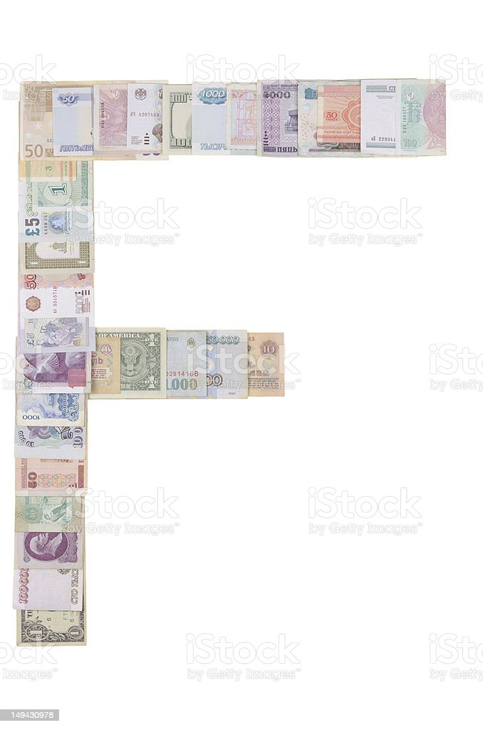 Letter F from money royalty-free stock photo