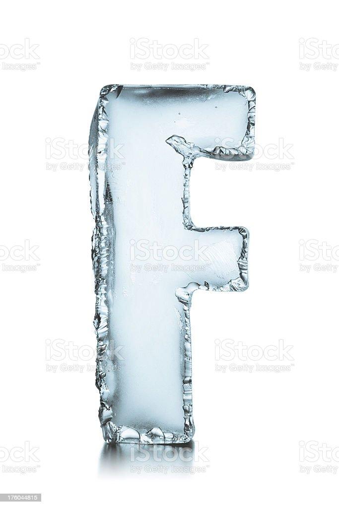 Letter F frozen ice block alphabet stock photo