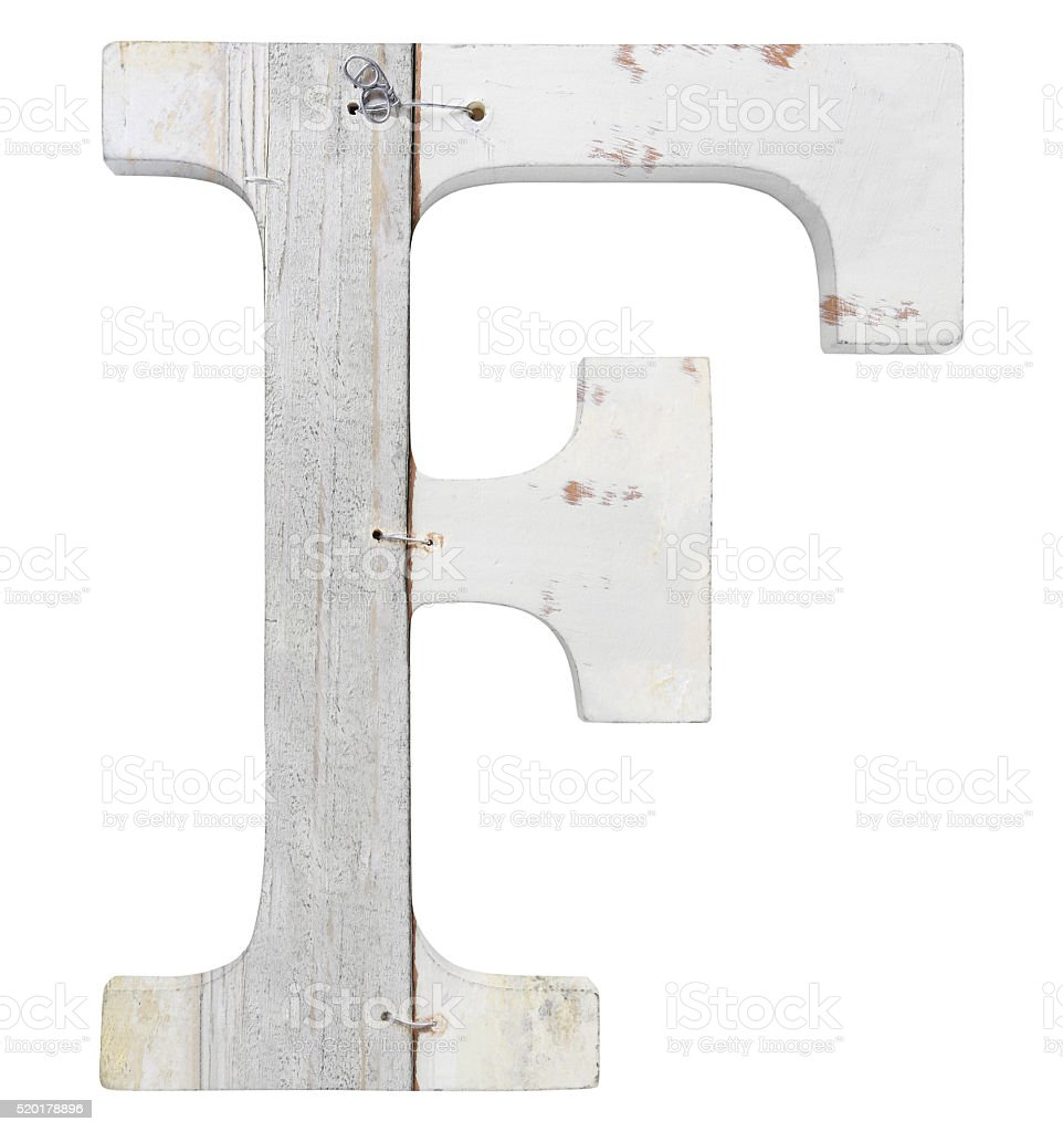 letter f isolated on white background stock photo