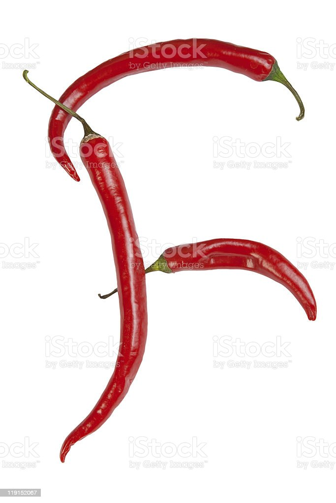 Letter F made from chili, isolated on white royalty-free stock photo