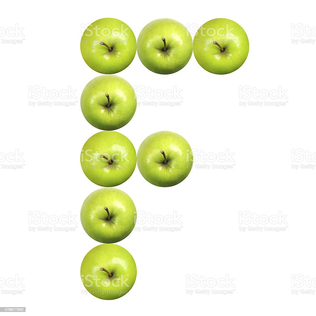 Letter F made of apples stock photo