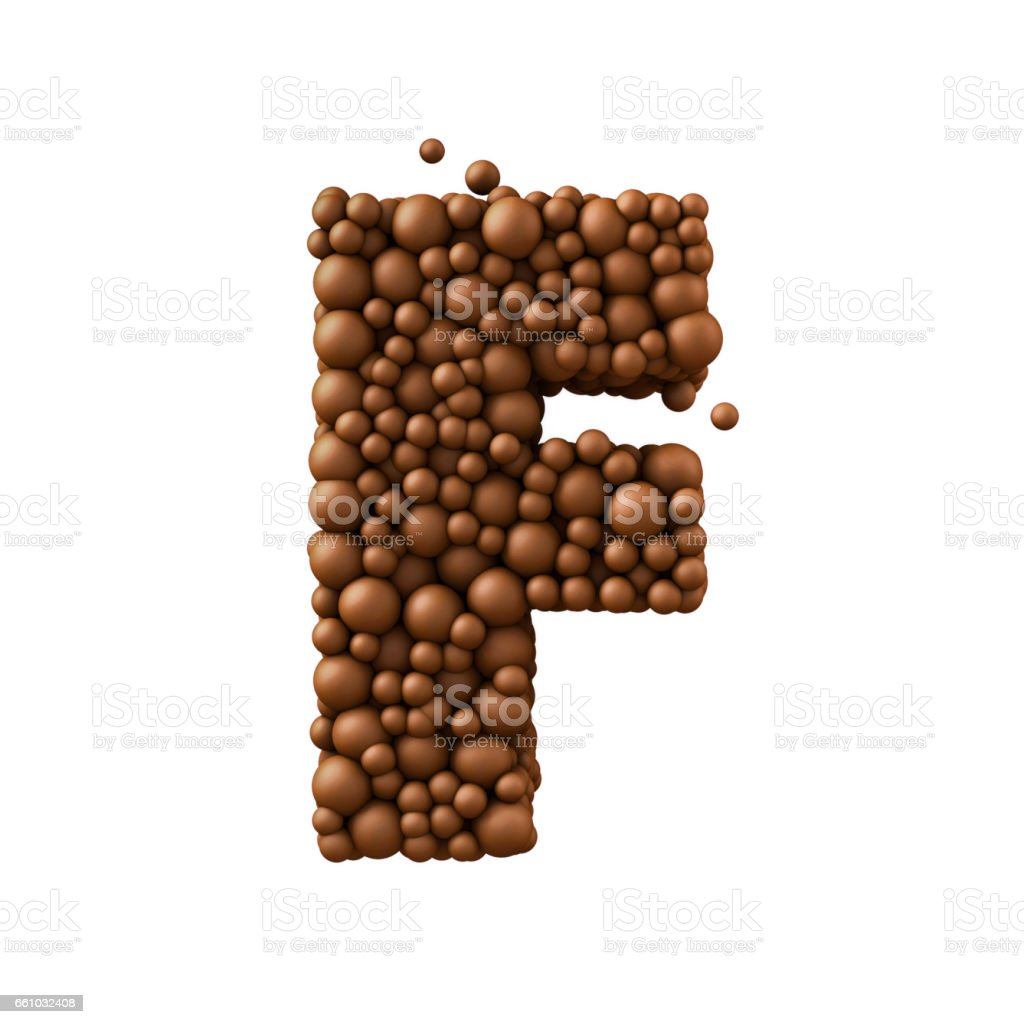 Letter F made of chocolate bubbles, milk chocolate concept, 3d render stock photo