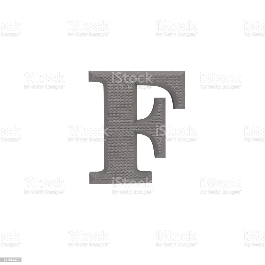 Letter F made of cloth, tissue texture, 3d illustration stock photo