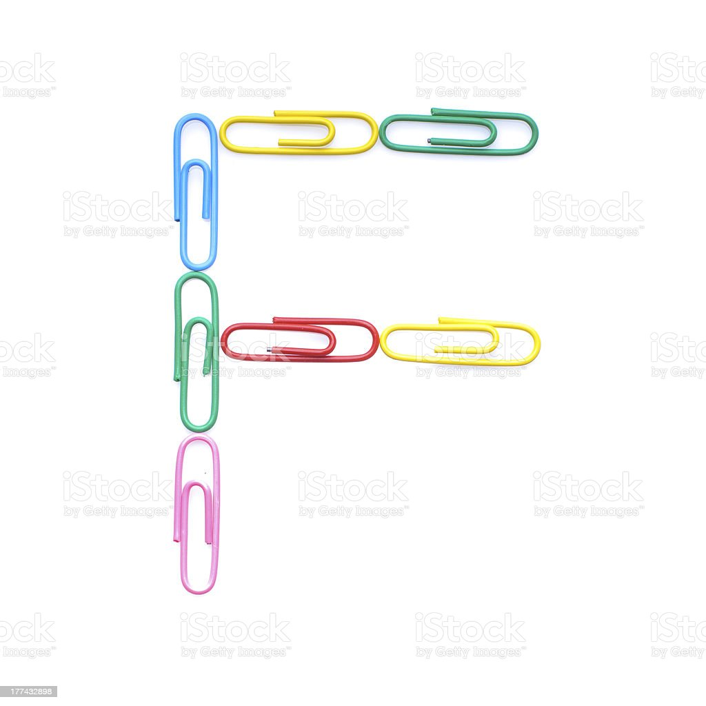 Letter F made with clips royalty-free stock photo