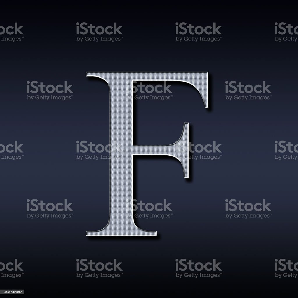 letter F on a black  background stock photo