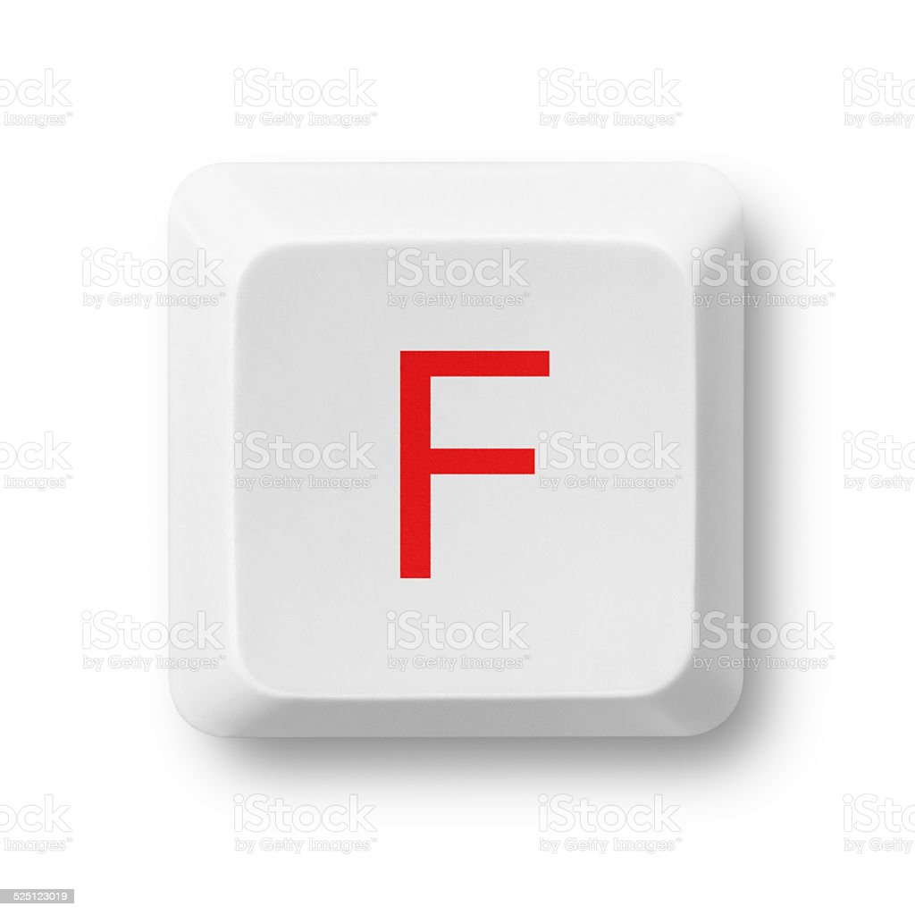 Letter F on a computer key isolated on white stock photo