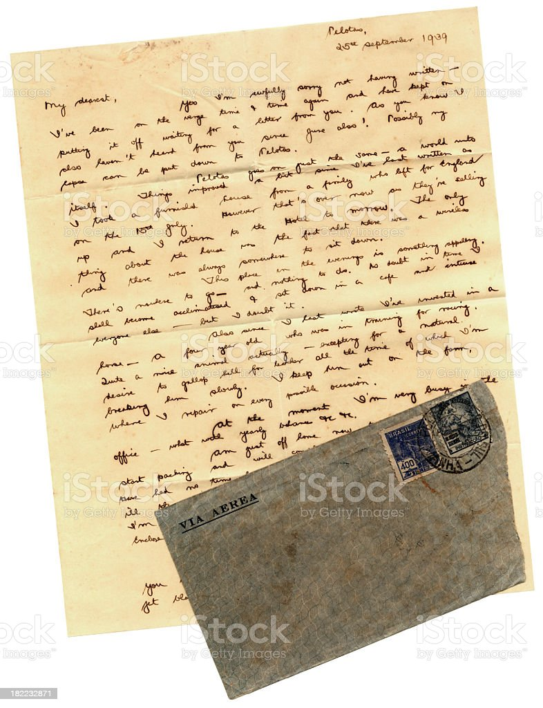 Letter from Brazil, 1939 royalty-free stock photo
