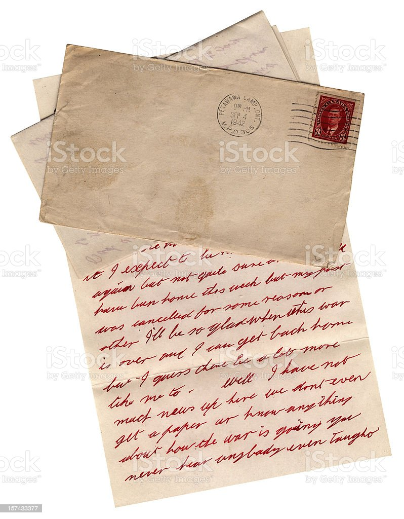 WW2 letter from Canadian army camp at Petawawa, Ontario, 1942 royalty-free stock photo