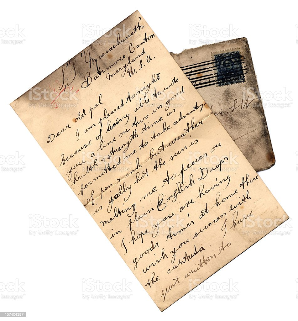 Letter from the SS Massachusetts royalty-free stock photo