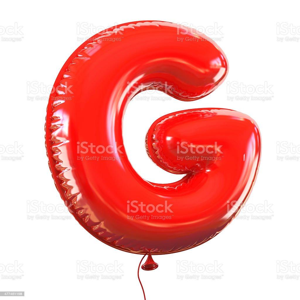 Letter G balloon font stock photo