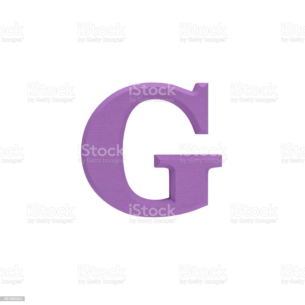 Letter G made of cloth, tissue texture, 3d illustration stock photo