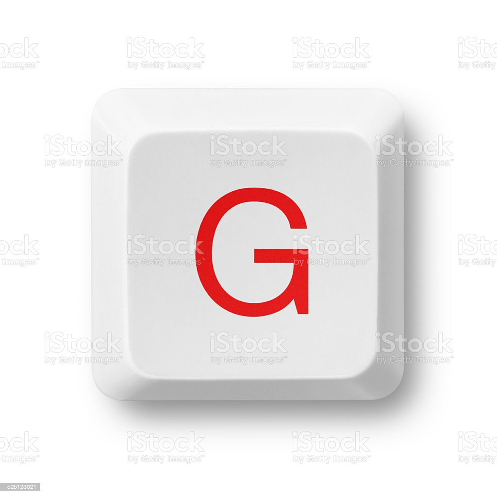 Letter G on a computer key isolated on white stock photo