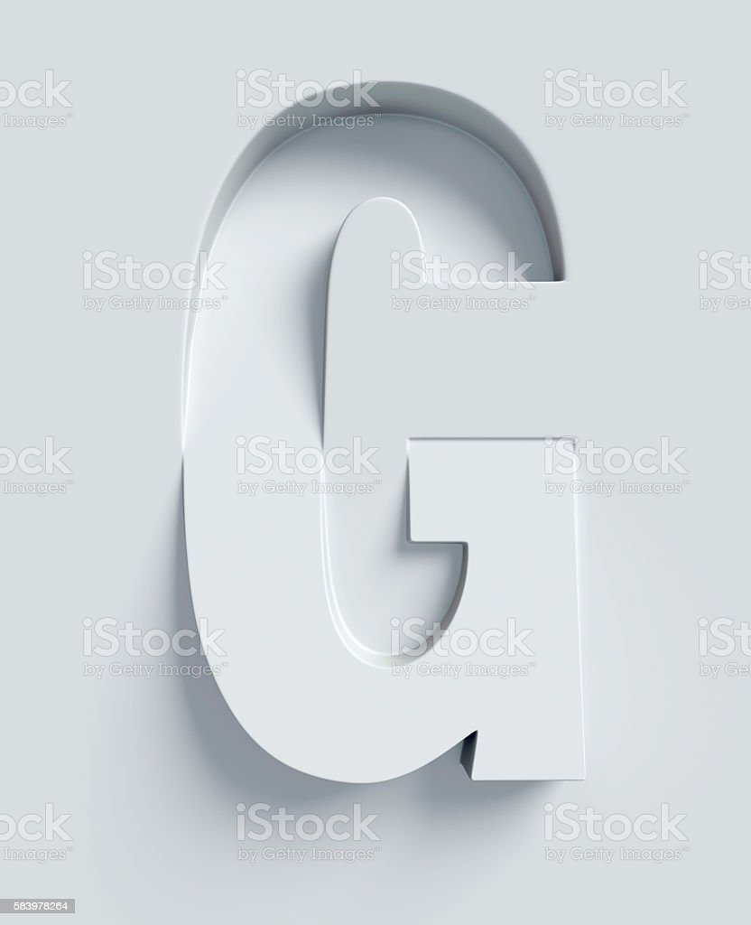 Letter G slanted 3d font engraved and extruded from surface stock photo