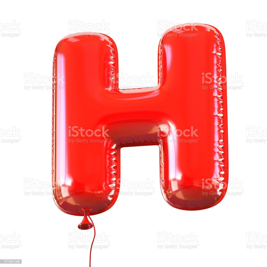 Letter H balloon font stock photo