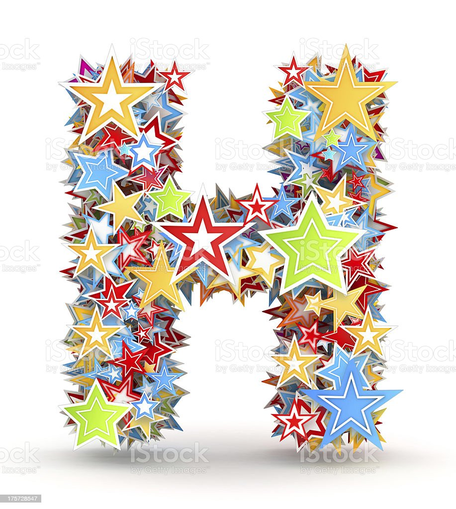 Letter H from colored stars royalty-free stock photo