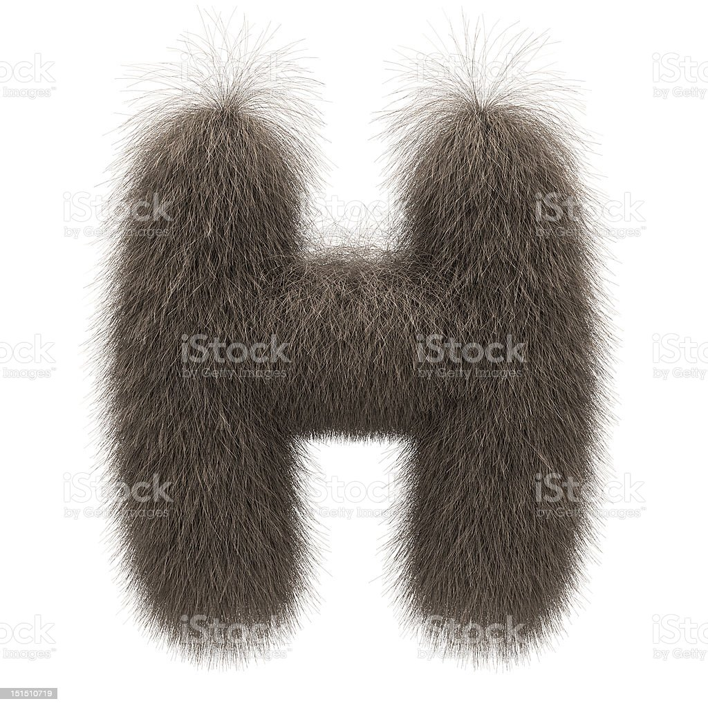 Letter H from fur alphabet stock photo