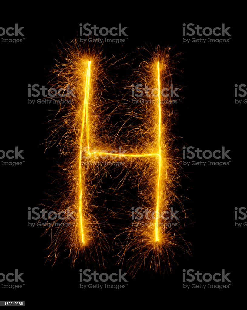 Letter H in Fireworks royalty-free stock photo