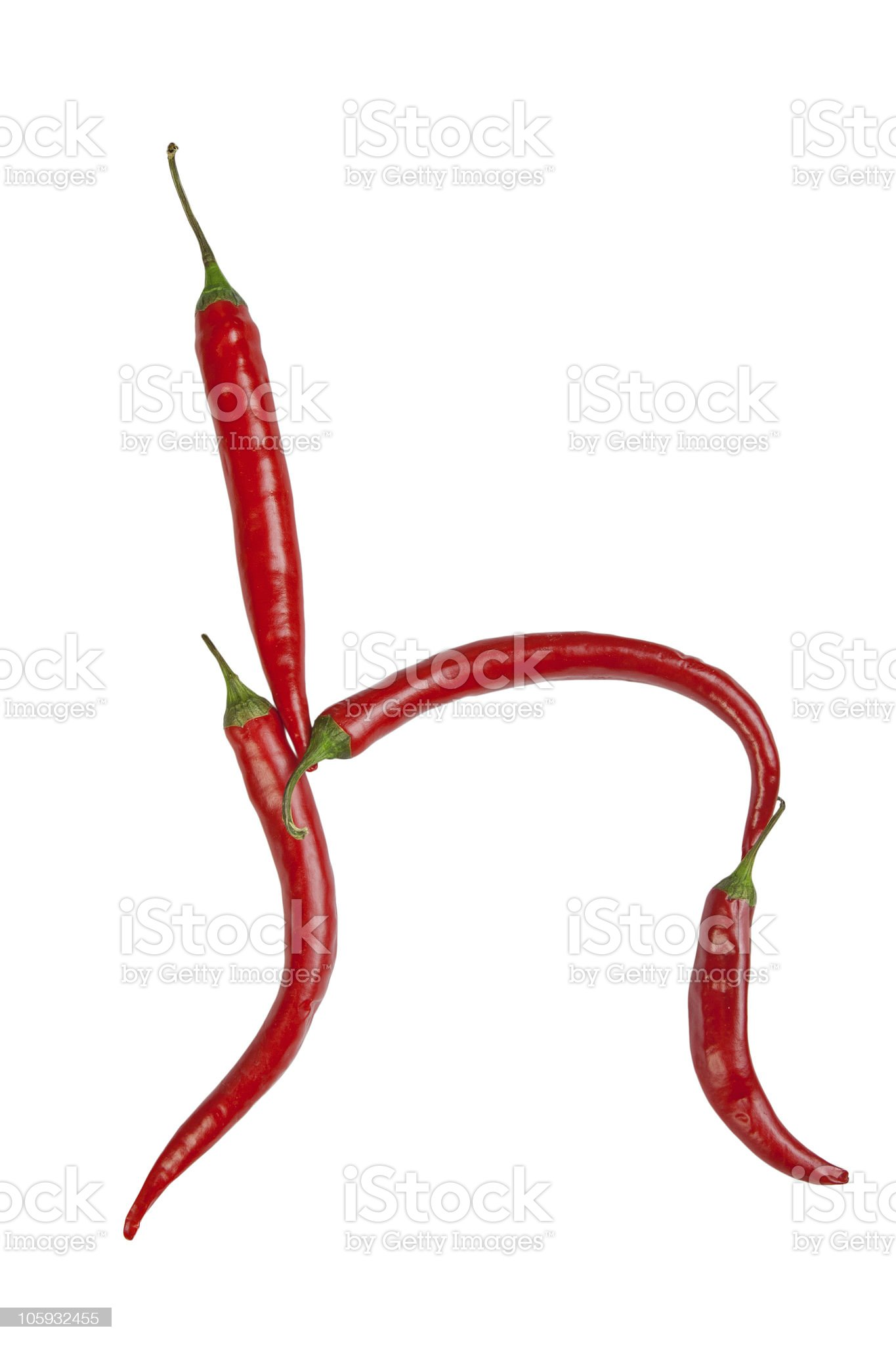 Letter h made from chili, isolated on white royalty-free stock photo