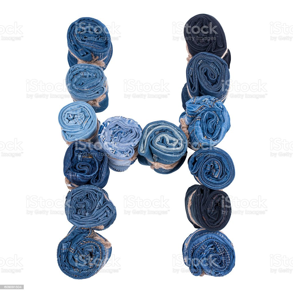 Letter H made of jeans roll stock photo