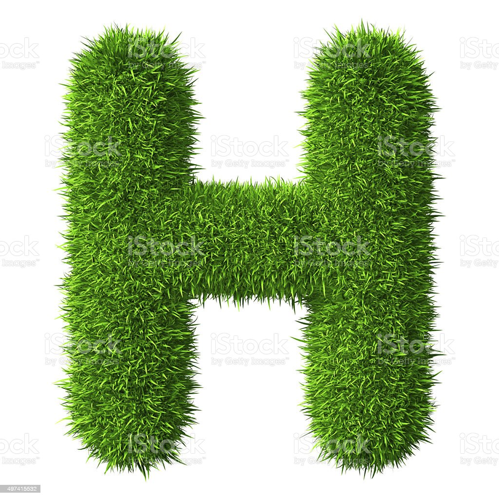 Letter H of grass stock photo