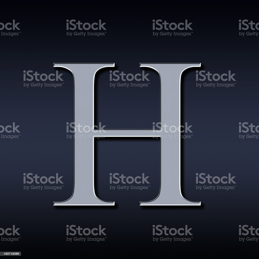 letter H on a black background stock photo