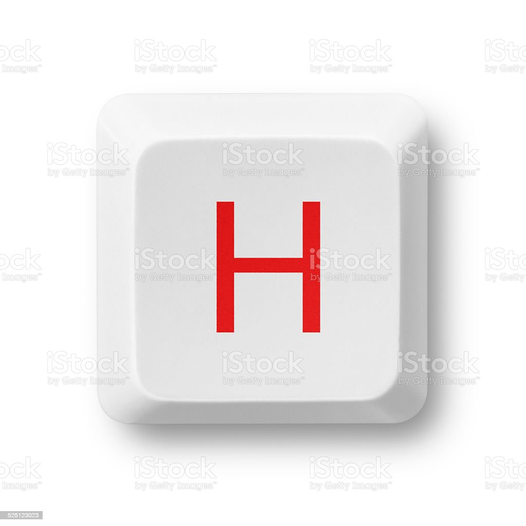 Letter H on a computer key isolated on white stock photo