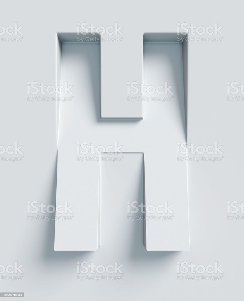 Letter H slanted 3d font engraved and extruded from surface stock photo