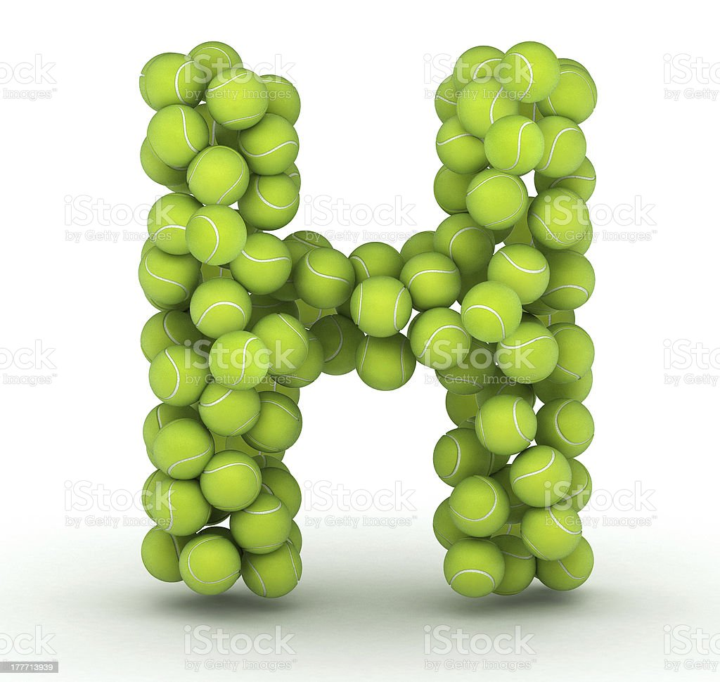 Letter H, tennis balls alphabet royalty-free stock photo