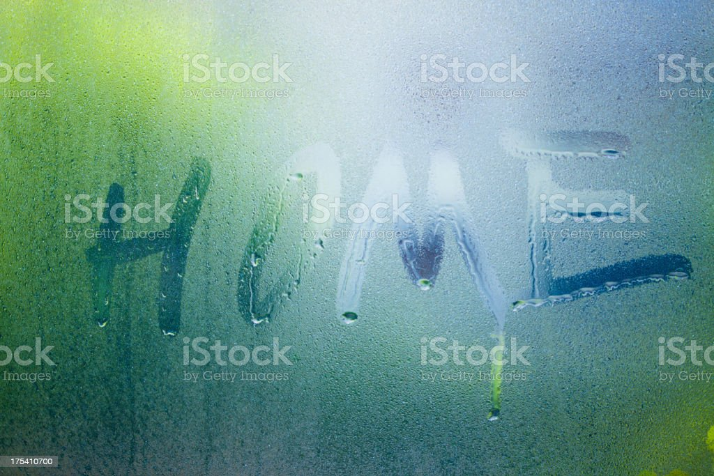 letter home write on grass with drop of water royalty-free stock photo