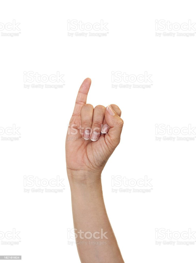 Letter I in American Sign Language stock photo