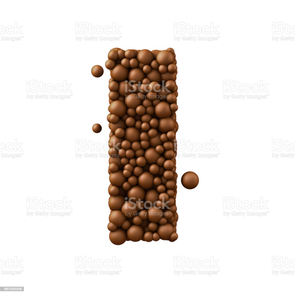 Letter I made of chocolate bubbles, milk chocolate concept, 3d render stock photo