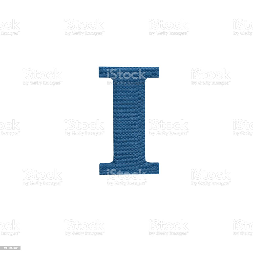 Letter I made of cloth, tissue texture, 3d illustration stock photo