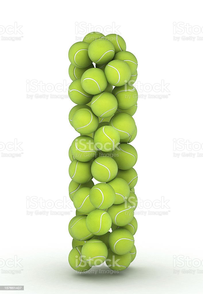 Letter I, tennis balls alphabet royalty-free stock photo