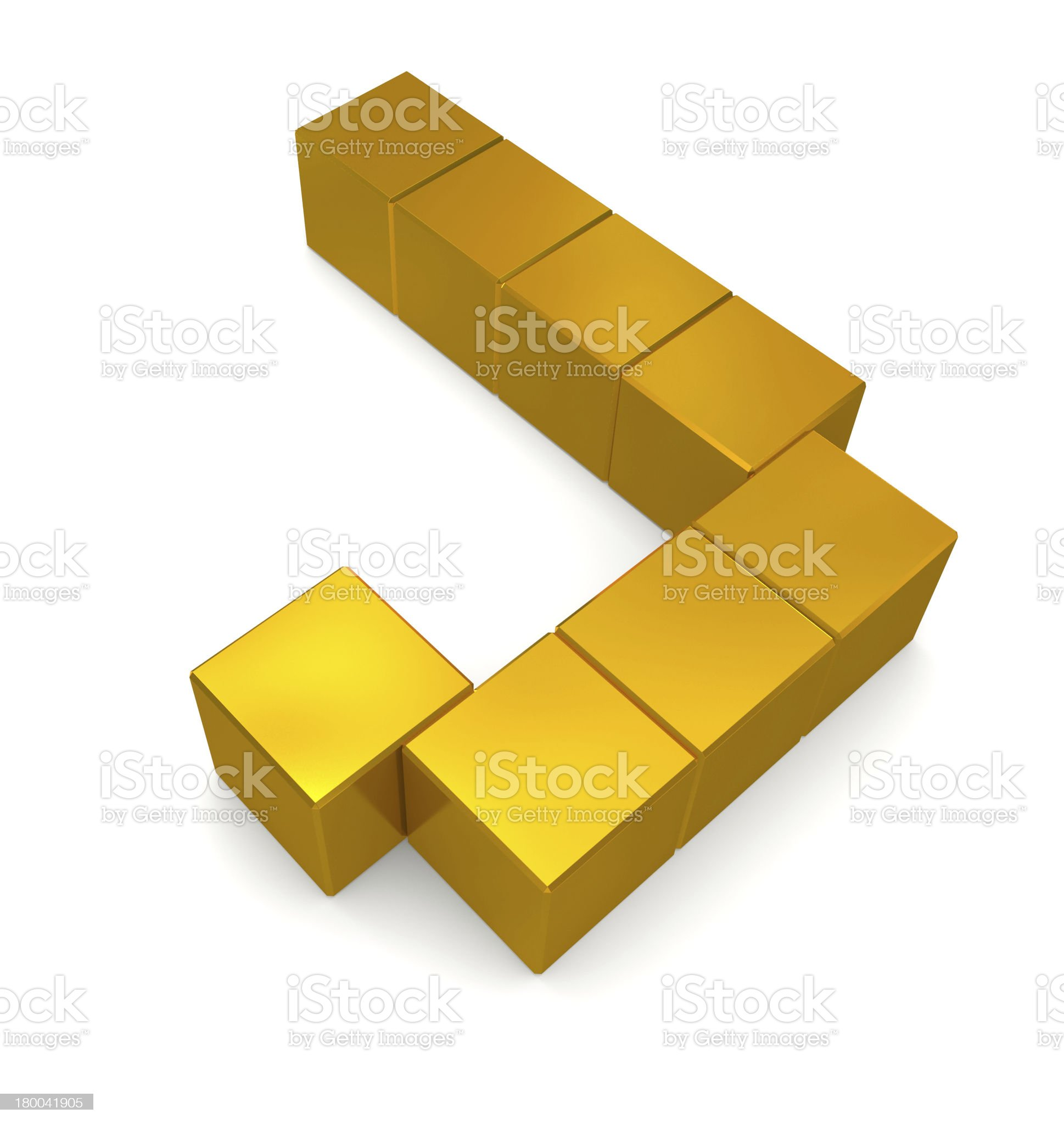 letter J cubic golden royalty-free stock photo