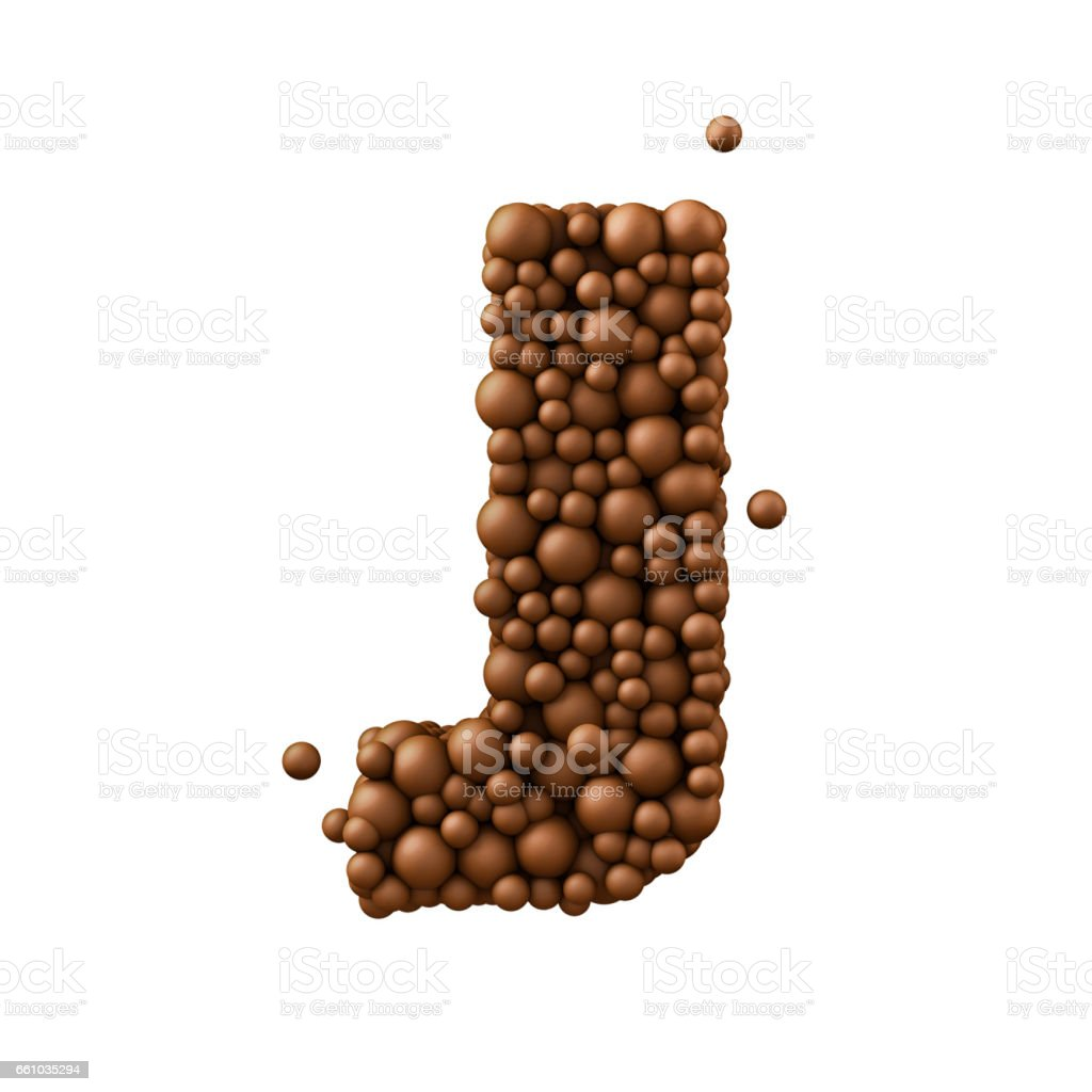 Letter J made of chocolate bubbles, milk chocolate concept, 3d render stock photo