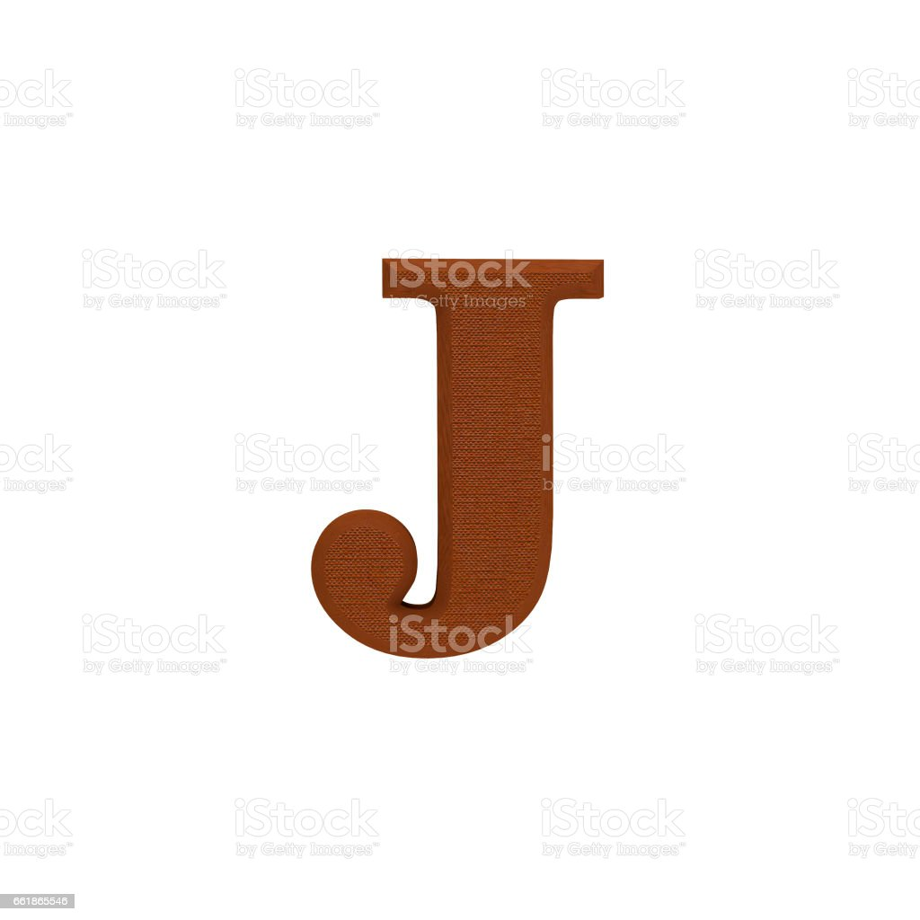 Letter J made of cloth, tissue texture, 3d illustration stock photo