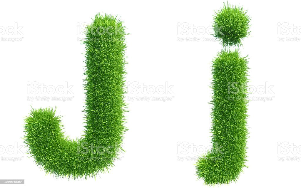 Letter J of green fresh grass isolated on a white stock photo