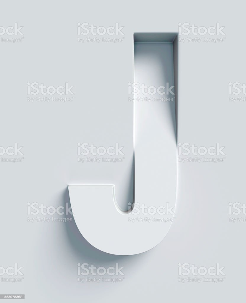 Letter J slanted 3d font engraved and extruded from surface stock photo