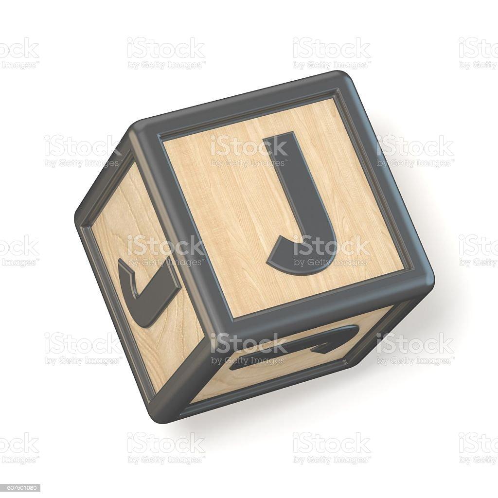 Letter J wooden alphabet blocks font rotated. 3D stock photo