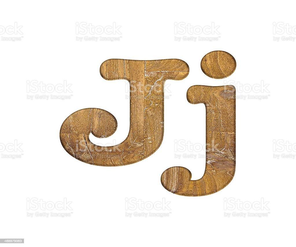 Letter J wooden. stock photo